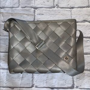 Large Maggie Bags grey seatbelt messenger bag